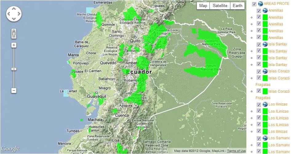 Mapa de Áreas Protegidas del Ecuador