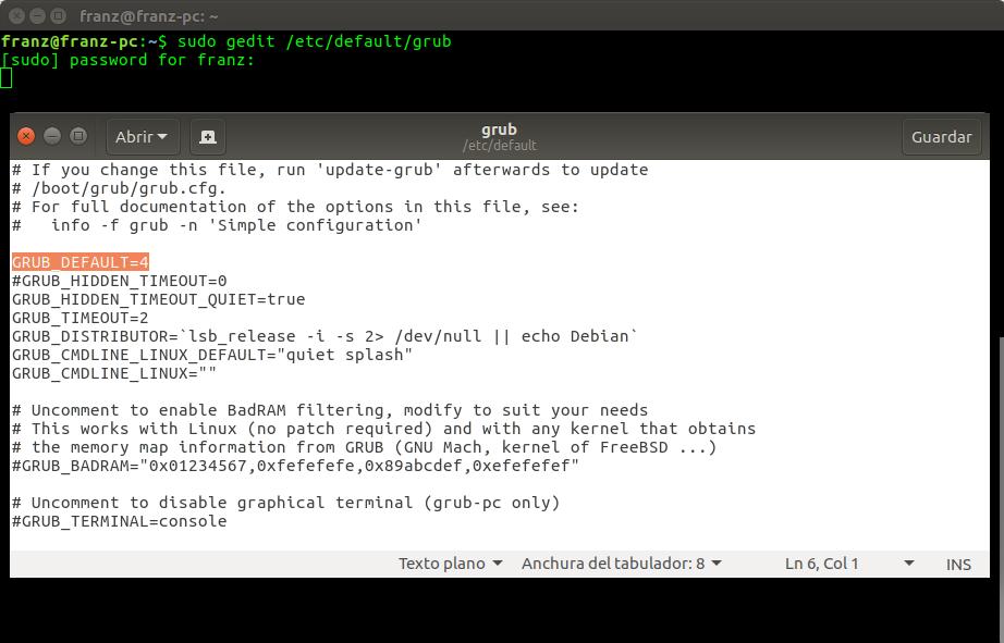Configurar el sistema operativo de arranque por defecto entre Ubuntu ...