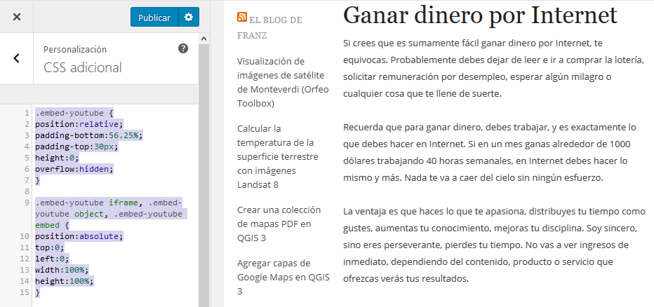 Hacer responsive o adaptables los vídeos de YouTube en WordPress ...